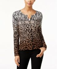 Charter Club Large Black Brown Animal Print Button Down Cardigan Sweater