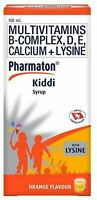 Pharmaton Kiddi Vitamin Syrup for Kids Increase Appetite for Growth 100mL Orange