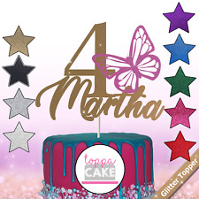 Custom Butterfly Cake Topper Glitter Topper Butterfly Cake Name Personalised Age