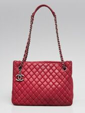 Chanel Fuchsia Quilted Iridescent Calfskin Leather New Bubble Small Tote Bag