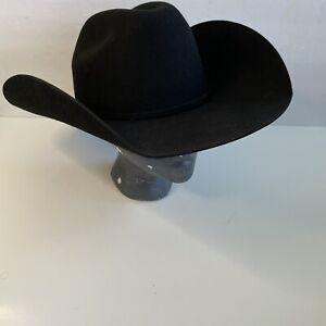 NEW Bullhide Hats 0666BL Broken Horn 4X Black Cowboy Hat Size 7 3/8 Brim 4 3/8