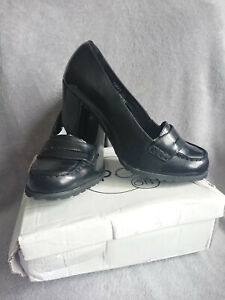WOMENS LADIES HIGH HEEL SCHOOL WORK DOLLY LOAFERS SHOES SIZE 7 Black