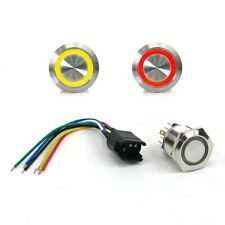 22mm Led Red Latching Billet Button with Wire Harness hot rods Kic7617E rat