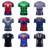 Superhero Marvel T-shirts Compression Sports Fitness Short Sleeve Gym 3D Men