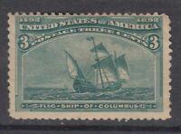 """USA MINT OG Scott #233  3 cent green """"Columbian Exposition"""""""