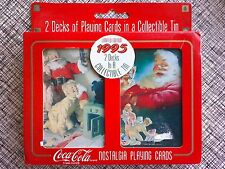 New 2 Decks Playing Cards in Tin 1995 Coca Cola Limited Edition Santa