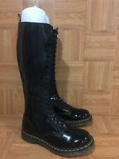 $329❤️ Dr. Martens 20 Eye Boot Side Zip Black Patent Leather Sz 43 11 1B60
