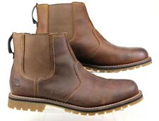 MENS TIMBERLAND LARCHMONT BROWN LEATHER CHELSEA ANKLE BOOTS UK SIZE 11.5 FADED