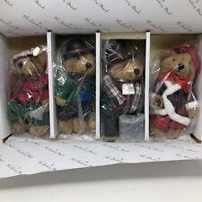 Danbury Mint 2015 Set of 4 Collectible Plush Bear Ornaments Christmas