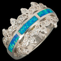 Crown Ocean Blue Fire Opal CZ Silver Jewelry Band Ring US Size 7 8 9