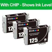 3PKs Remanufactured 125 Black Ink Cartridge For Epson Stylus NX125 NX127 NX130