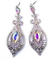 Rhinestone Crystal AB Chandelier Earrings Bridal Prom Pageant 3 inch Long