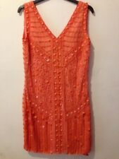 Love Label Neon Layer Tiered Vest Strap Tunic Party Dress UK 6-14 Orange Black