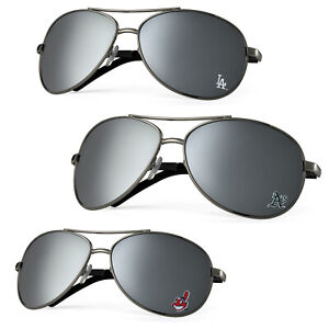 MLB Licensed Silver Mirrored Team Logo Aviator Sunglasses