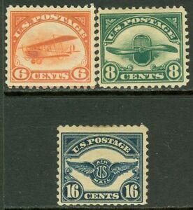 EDW1949SELL : USA 1918-23 Scott #C1, 4, 5 Mint Original Gum Hinged