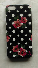 2 X ACCESSORIZE IPHONE 5 BLACK AND WHITE POLKA DOT WITH FLOWERS PHONE CASE