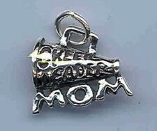 Cheerleader Mom with Megaphone Charm with Ring for Bracelet Sterling Silver
