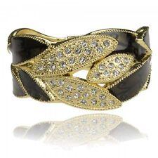 Gold Plate GP Leaf Crystal Black Enamel Bangle Bracelet