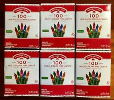NEW Lot of 6 HOLIDAY TIME 100 Multi-Color Mini Christmas Lights Indoor/Outdoor