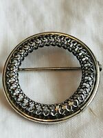 Vintage Signed Danecraft Sterling Silver 925 Filigree Round Pin Brooch