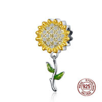 Fashion 925 Sterling Silver Sunflower European Beads Yellow CZ Charms for Women