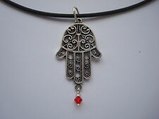 Necklace Hand Hamsa Crystal Rubber New Red Silver Black