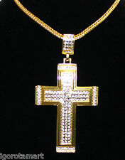 Men Snake Chain Punk HipHop Big 18k Gold Plated Iced Big Cross Pendant Necklace