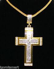Totalmente nuevo para hombre de moda enchapado en oro 18k Cruz Colgante/Cadena Collar vendedor del Reino Unido
