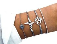 Damen Armbänder 4er Set Armband Silber Schmuck Boho Herzschlag Weltkarte Kette ♥