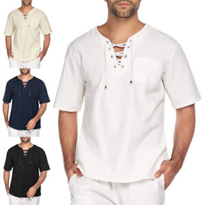 UK Mens Cotton Linen Short Sleeve T-shirt Casual Loose V Neck Lace Up Tops Tunic