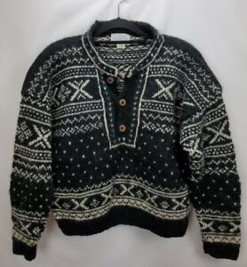 Vintage Alpaca Imports Wool Fair Isle Sweater Large Black Button Pullover Nepal