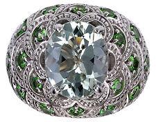 Sterling Silver Green Quartz Gemstone Ring Size 6