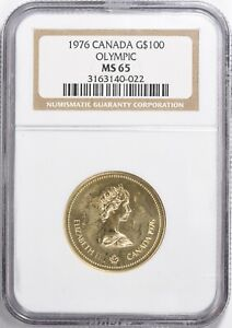 1976 Canada Gold $100 Montreal Olympics NGC MS-65