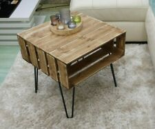 Coffee Table Rustic Chunky With Solid Wood Metal Hairpin Legs Le Crates