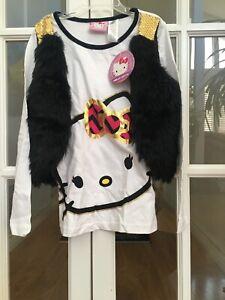Hello Kitty Super Cute Sz M 7/8 Girls Long Sleeve Shirt W Faux Fur Vest, NWT