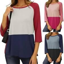 Womens Summer Crew Neck T-Shirts Ladies Casual Colourblock Tops Blouse Plus Size