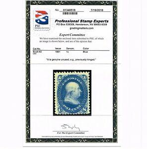 GENUINE SCOTT #63 F-VF MINT OG VLH 1861 BLUE BENJAMIN FRANKLIN - PSE CERT
