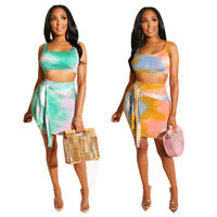 Women Sleeveless Tie-Dye Print Casual Club Party Bodycon Mini Dress Skirts Set
