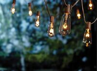 Goothy 20Ft Outdoor Patio String Lights,set of 20 Glass ST40 Edison Style Bulb