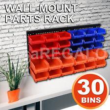30Pc Workshop Parts Bins Wall Mounted Storage Tool Box Organiser Board Tray Rack