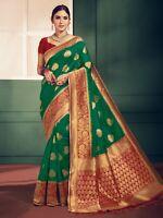 Indian Sari Bollywood Saree & Blouse Ethnic Green Woven Banarasi Art Silk -1271