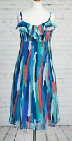Per Una M&S Long Floaty Blue Dress Size 12 12R Fit & Flare Fishtail Summer