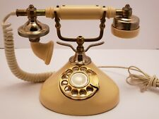 Cream and Gold French style Rotary Dial Cradle Desk Phone Retro Vintage