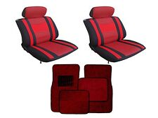 Mesh Red & Black Seat Covers W/ Burgundy Carpet floor Mats for Cars SUVS- Combo