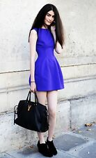 Rare! ZARA Blue Purple Structured Tulip Dress Prom Wedding Party Extra Small XS