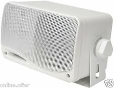 "3 Way Mini Box Weatherproof Marine Speakers 2 Pyle 3.5"" 200W Outdoor White"