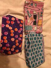 Clinique Lot Print Zippered Cosmetics Makeup Travel Bags *NEW* lot of 3