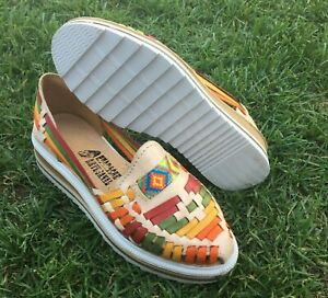 Ladies Closed Toe Genuine Authentic Mexican Leather High Heel Sandal Multicolor