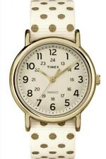 Watch TIMEX WEEKENDER TW2P66100 Pois Fabric White Gold Golden Reversible