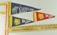 Lot of 3 VTG Felt Pennant Historical 1950s Cleveland Zoo Detroit Zoo